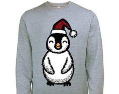Large Christmas Penguin Mens Festive Xmas Sweatshirt Jumper