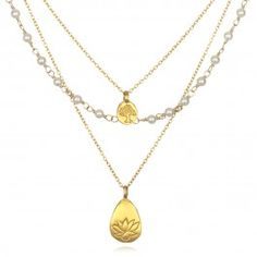 Pearl Layered Necklace with Lotus Pendant in Gold | Satya Jewelry