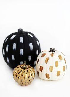 DIY no-carve brushstroke pumpkins - The Snug