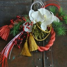 響花 アーティフィシャルフラワー しめ縄 胡蝶蘭 お正月飾り レッド