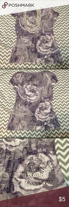 Burnout Top Maurices Burnout top with roses. Cute top for spring weather 🌷 Maurices Tops Tees - Short Sleeve