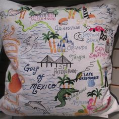 Florida Pillow - embroidered detail - st. petersburg, tampa, orlando, naples, gainesville, tallahassee