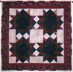 """""""Square and Stars"""" (began November 1992 in Davis, CA, completed December 1999, Los Alamos, NM) - This quilted wall hanging took me a long time to make--seven years! It was actually the second pieced project that I began but set aside, unfinished, to work on other projects. I pulled it out of the closet and completed it for my mother, Kathie, for Christmas. She has always commented on how she liked the wall hanging and asked me when I'd finish it! I think this quilt has been rotated with the…"""