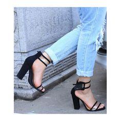 Blue Transparent Heel Buckle High Sandals