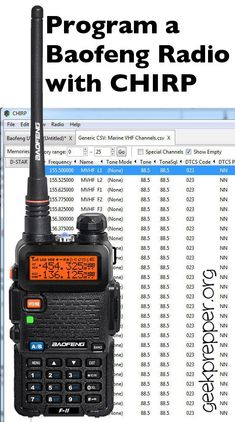 Easily Program a Baofeng Radio with CHIRP to store all the channels you need quickly and easily! geekprepper.org