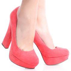 Pink-Suede Retro Pumps Womens Chunky High Heel Platform Shoes love-it ideas Studded Sneakers, Chunky High Heels, Platform Shoes, Vans, Booty, Pumps, Retro, Elegant, Dream Career