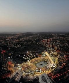 View from above. As you can see out of all buildings or city, makkah is the brightest amongst all. Subhanallah