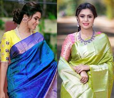We Spotted Epic Silk Saree Designs on This Brand - Looking for latest sik saree design? Here are some amazing collections you can shop on - Pattu Saree Blouse Designs, Blouse Designs Silk, Saree Blouse Patterns, Latest Saree Blouse Designs, Dress Designs, Latest Pattu Sarees, Latest Designer Sarees, Wedding Silk Saree, Up Book