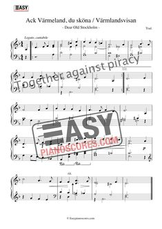 Ack Värmeland du Sköna (Dear Old Stockholm) – Piano Sheet Music Piano Score, Music School, Easy Piano, Miles Davis, Piano Sheet Music, Stockholm, Jazz, Folk, Pdf
