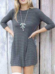 Gray And Black Striped Long Sleeve Tee Dress
