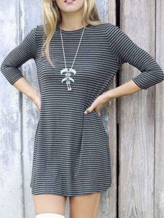 Gray And Black Striped Long Sleeve Tee Dress