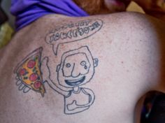Dwyer, owner of the world's largest collection of pizza-related stuff, branded himself with a tattoo of himself holding a slice.