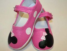 Minnie Mouse inspired shoes  hand painted fuschia by Snanimals, $25.00