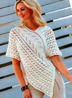 Tunic poncho with ajour pattern- Tunika-Poncho mit Ajourmuster Tunic poncho with ajour pattern - Crochet Pullover Pattern, Poncho Knitting Patterns, Tunic Pattern, Knitted Poncho, Lace Knitting, Knit Crochet, Crochet Doilies, Crochet Patterns, Shawl Patterns