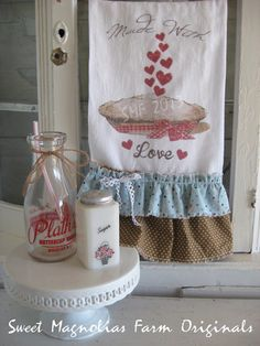 "Valentine Flour Sack Kitchen Towel .""Made with Love"" Pie and Hearts ...for your Home, Farmhouse or Cottage. $18.25, via Etsy."