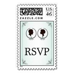 Cameo mint green vintage elegance wedding RSVP Postage Stamp