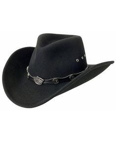 b63fe691ad1f8 Jack Daniel s Logo Conchos Crushable Wool Felt Cowboy Hat