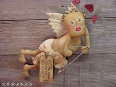 Folk Art Primitive Cupid Doll OKDO $5.50