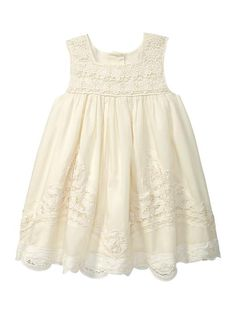 Baby Gap Tree House Crochet Overlay Dress - beautiful for special occasion Little Girl Fashion, My Little Girl, Little Girl Dresses, Kids Fashion, Girls Dresses, Flower Girl Dresses, Party Dresses, Summer Dresses, Blessing Dress