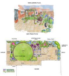 wide garden design with circular lawn
