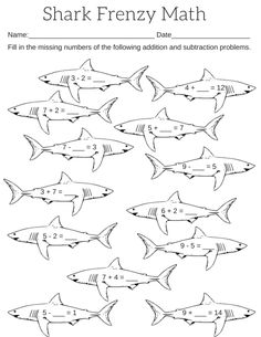 Printable Shark Frenzy Math Worksheet This is a one page pdf file with a shark theme to practice addition and subtraction skills. It is a fill in the blank worksheet. The child puts in the number t… Shark Activities, Math Activities For Kids, Math For Kids, Big Kids, 1st Grade Worksheets, Worksheets For Kids, Clark The Shark, Multiplication Facts Practice, Shark Coloring Pages