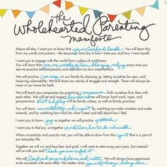 Wholehearted Parenting manifesto
