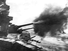 Gunnery Practice on HMS Queen Elizabeth in Indian Ocean WW2
