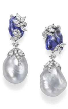Mikimoto | Hyacinthia Earrings | Baroque South Sea Cultured Pearls, Tanzanites & Diamonds