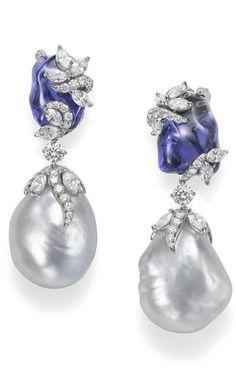 Mikimoto | Hyacinthia Earrings | Baroque South Sea Cultured Pearls, Tanzanites & Diamonds