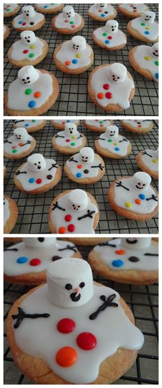 Christmas Food Ideas – Melted Snowman Biscuits – # Biscuits … - Easy Crafts for All Christmas Party Food, Xmas Food, Christmas Sweets, Christmas Cooking, Christmas Goodies, Christmas Candy, Kids Christmas, Christmas Crafts, Funny Christmas