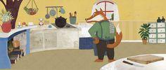 #carriemay #kidscornerillustration #illustration #digital #mixedmedia #character #fox #kitchen #interior