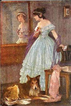 WOLLNER lady in blue dress w COLLIE dog old postcard