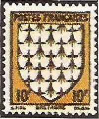 1943 - Stemmi di province francesi - I serie - Bretagne - 10 f.