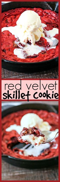 Red Velvet Skillet Cookie - A warm red velvet cookie with an. Red Velvet Skillet Cookie - A warm red velvet cookie with an ooey gooey center and chocolate chips mixed throughout. Once you try a bite of this dessert you wont want to share! Toffee Cookies, Spice Cookies, Chocolate Chip Cookies, Chocolate Chips, Easy Desserts, Delicious Desserts, Vegetarian Desserts, Cookie Recipes, Dessert Recipes