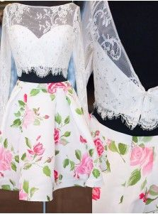 Elegant Two-piece Long Sleeves White Lace Homecoming Dress with Beads and Floral Print
