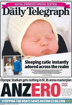Sydney's The Daily Telegraph used a zoomed in shot of the little princess on its cover with the caption 'Sleeping cutie instantly adored across the realm' Elizabeth Of York, Princess Elizabeth, Royal Princess, Prince And Princess, Queen Elizabeth Ii, Princess Diana, Little Princess, Duchess Kate, Duke And Duchess