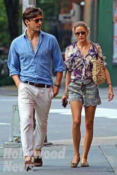 Johannes Huebl and Olivia Palermo. These 2 have great style. Estilo Olivia Palermo, Olivia Palermo Lookbook, Olivia Palermo Style, Johannes Huebl, Stylish Couple, Fashion Couple, Denim Shirt, Style Me, Couple Style