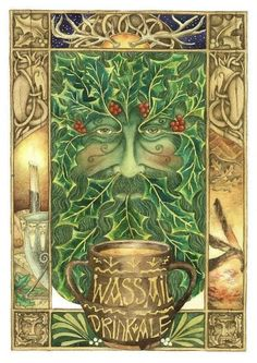 "Wassail. From ""Wes þu hal"", literally ""Be thou whole"" in Old English."