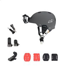 Orbmart Helmet Front Mount Kit with Adjustment Curved Adhesive Bracket J-Hook Buckle for Gopro Hero 4 3 Xiaomi Yi Sport Camera