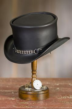 Premium finished leather showcases a tall crown with a leather and chain-link band, for a hat that gets noticed and admired. Leather Top Hat, Black Leather, Steampunk Top Hat, Western Hats, Leather Working, Hats For Men, Knee Boots, Fashion Accessories, Beanies