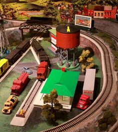 Lionel Trains: Model Trains... With a red water tower,like my husband's. This set is in the Shelburne Museum in Vermont.