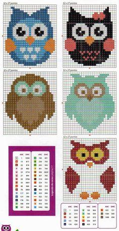 Could use as a cross stitch pattern Cross Stitch Owl, Beaded Cross Stitch, Cross Stitch Animals, Cross Stitch Charts, Cross Stitch Designs, Cross Stitching, Cross Stitch Embroidery, Cross Stitch Patterns, Motifs Perler