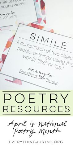 10 Poetry Resources | everythingjustso.org | Looking for resources for National Poetry Month? Here are ten to get you started!