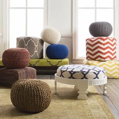 Enhance your interiors with multi-purpose poufs and ottomans varying in shape, size, pattern and color!
