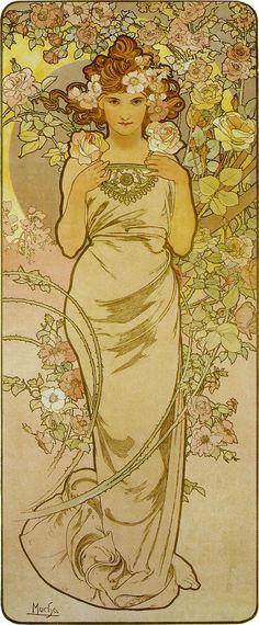 アルフォンス・ミュシャ-連作≪四つの花-薔薇≫(連作≪花4部作-薔薇≫)-