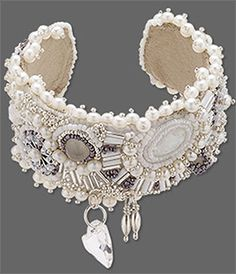 bead embroidered cuff by Tammy Honaman - mixed media includes seed beads, cabochons, beading medium, ultrasuede, beads, pearls, Swarovski cyrstals