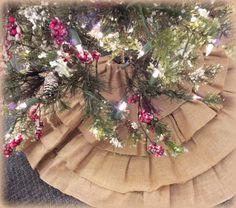 Burlap Christmas Tree Skirt....burlap tree skirt...51 inch holiday tree skirt..burlap xmas skirt