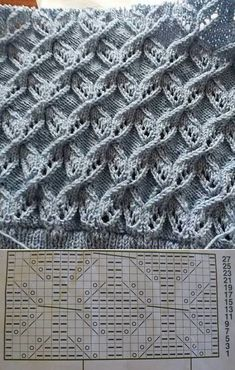 Lace Knitting Stitches, Lace Knitting Patterns, Knitting Charts, Knitting Designs, Knitting Needles, Knitting Yarn, Stitch Patterns, Bone Bordado, Vogue Knitting