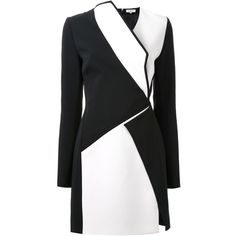 Mugler Bonded Monocrome Crepe Long Sleeve Mini Dress ($1,100) ❤ liked on Polyvore featuring dresses, jackets, coats, black, black slit dress, black v neck dress, short bodycon dresses, mini dress and black bodycon dress