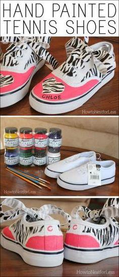 062f0303b99c DIY Hand Painted Tennis Shoes. Make a plain pair of white shoes pop